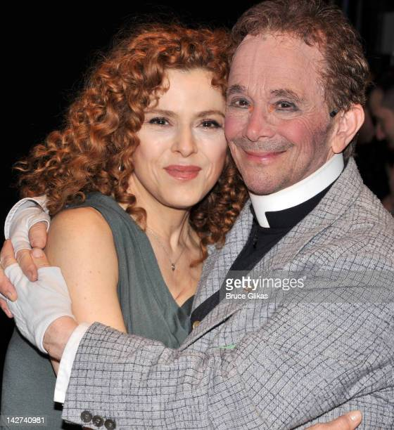 Bernadette Peters and Joel Grey pose backstage at the Anything Goes celebration of Joel Grey's 80th birthday at the Stephen Sondheim Theatre on April...