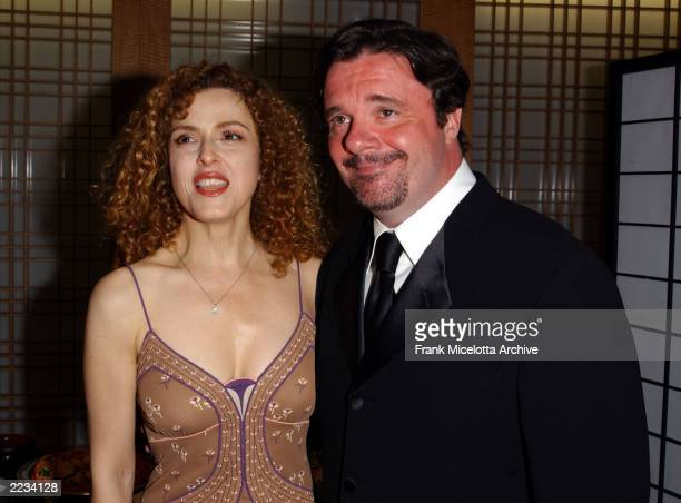 Bernadette Peters and Nathan Lane backstage before 'Springtime for Mel Brooks Musical Moments from His Movies' presented by the Film Society of...