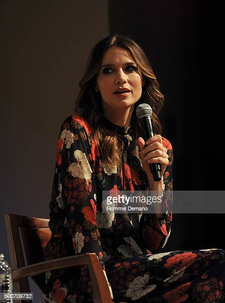 Bernadette Peters and Saffron Burrows speak at The SAGAGTRA Foundation's Conversations Series Presents 'Mozart In The Jungle' at The New School on...