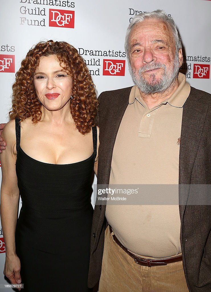 Bernadette Peters and Stephen Sondheim attend the Dramatists Guild Fund's 2013 Gala at The Edison Ballroom on October 21, 2013 in New York City.