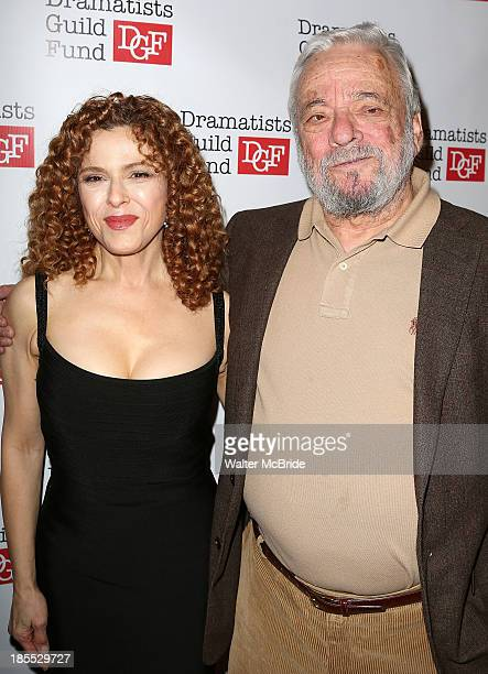 Bernadette Peters and Stephen Sondheim attend the Dramatists Guild Fund's 2013 Gala at The Edison Ballroom on October 21 2013 in New York City