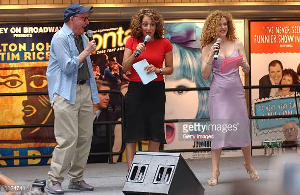 Bernadette Peters Andrea Martin and Buck Henry attend the Broadway Barks 4 dog and cat adoption event July 13 2002 in Shubert Alley in New York...