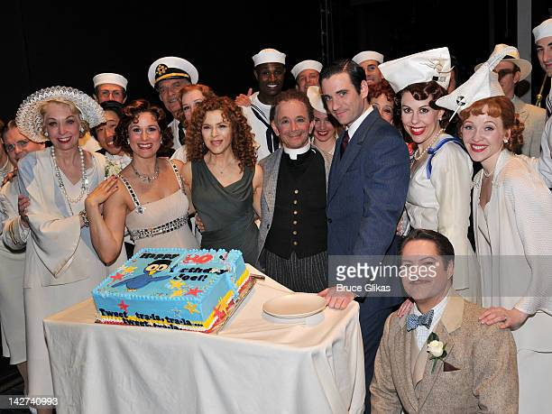 Bernadette Peters Joel Grey and the cast pose backstage at the Anything Goes celebration of Joel Grey's 80th birthday at the Stephen Sondheim Theatre...