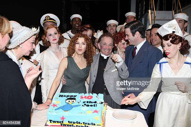 Bernadette Peters Joel Grey Colin Donnell Bernadette Peters surprises Joel Grey on his 80th birthday with a cake backstage at Anything Goes at the...