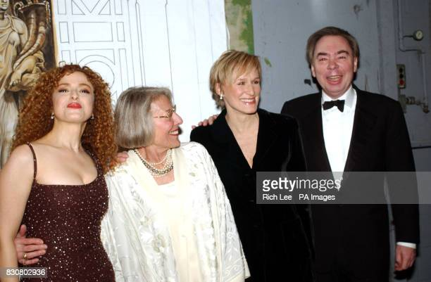 Bernadette Peters Mary Rodgers Guettel Glenn Close and Andrew Lloyd Webber backstage at The Richard Rodgers Centennial Benefit Concert at The...