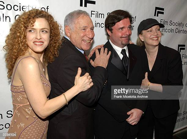 Bernadette Peters Mel Brooks Nathan Lane and Susan Stroman backstage before 'Springtime for Mel Brooks Musical Moments from His Movies' presented by...