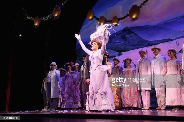 Bernadette Peters takes her opening night bow during 'Hello Dolly' on Broadway at Shubert Theatre on February 22 2018 in New York