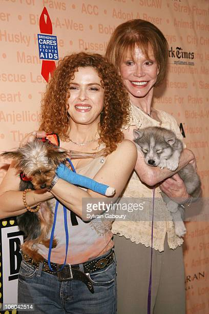 Bernadette Peters with dog, Molly and Mary Tyler Moore with dog, Timber