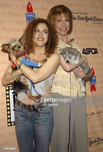 Bernadette Peters with Molly and Mary Tyler Moore with Timber