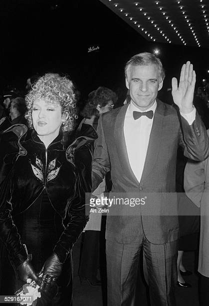 Bernadette Peters with Steve Martin attending a formas event LaScala sign in background circa 1980 New York