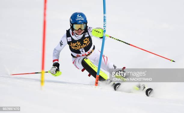 Bernadette Schild of Austria competes in the Women's Slalom event of the Alpine Skiing World Cup in Aare, Sweden, on March 17, 2018. / AFP PHOTO /...