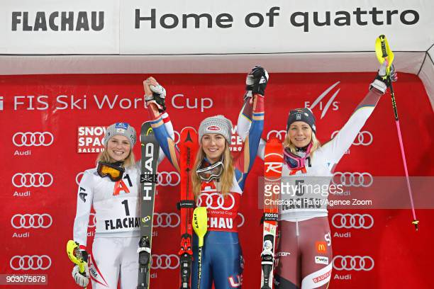 Bernadette Schild of Austria takes 2nd place Mikaela Shiffrin of USA takes 1st place Frida Hansdotter of Sweden takes 3rd place during the Audi FIS...