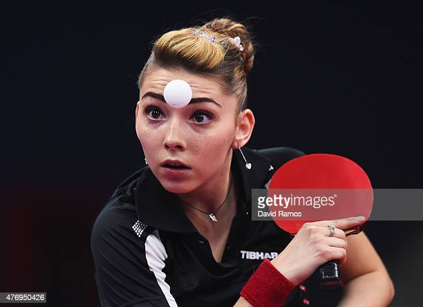 Bernadette Szocs of Romania competes in the Women's Team Table Tennis first round match during day one of the Baku 2015 European Games at Baku Sports...