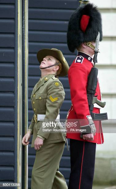 Bernadette Taylor inspects a sentry box at Buckingham Palace Four women from the Australian Federation Guard were part of a 150strong contingent of...