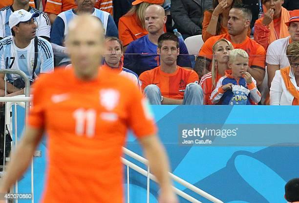 Bernadien Eillert Robben wife of Arjen Robben and their son Luka Robben watching him playing the 2014 FIFA World Cup Brazil Semi Final match between...