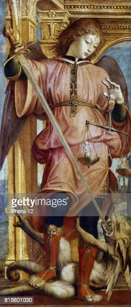 Bernadino Martini known as ZENALE Italian St Michael the Archangel fighting dragon with sword In left hand he holds balance to weigh men's souls