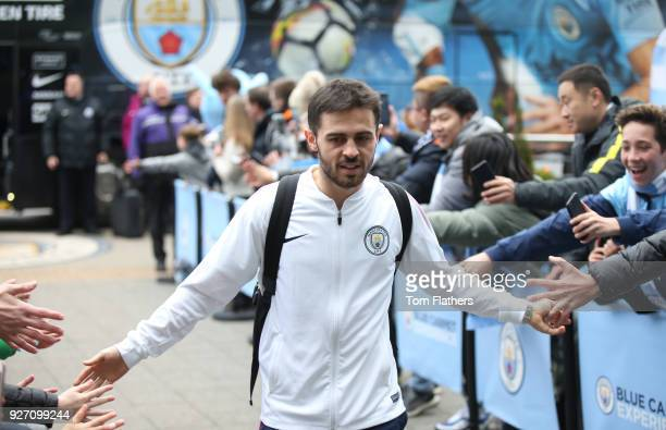 Bernado Silva arrives prior to during the Premier League match between Manchester City and Chelsea at Etihad Stadium on March 4 2018 in Manchester...