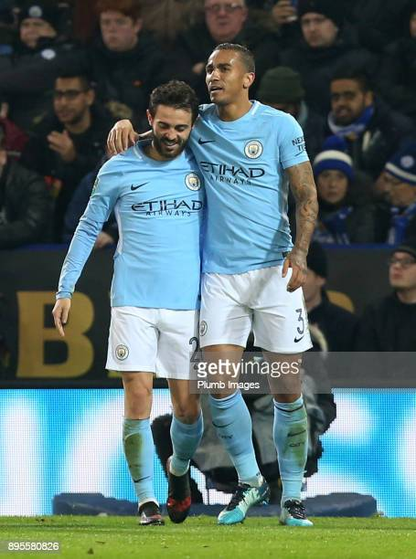 Bernado Silva of Manchester City celebrates after scoring to make it 01 during the Carabao Cup QuarterFinal match between Leicester City and...