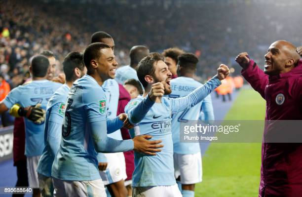 Bernado Silva of Manchester City celebrates after winning the penalty shoot out during the Carabao Cup QuarterFinal match between Leicester City and...