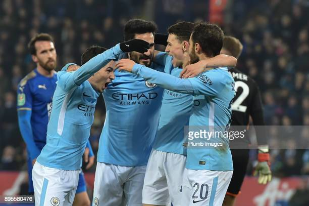 Bernado Silva of manchester City celebrates with team mates after scoring to put manchester City 10 ahead during the Carabao Cup fifth round match...