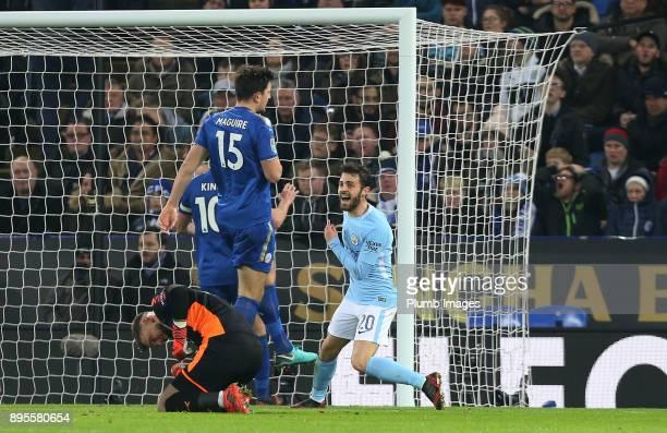 Bernado Silva of Manchester City scores to make it 01 during the Carabao Cup QuarterFinal match between Leicester City and Manchester City at King...