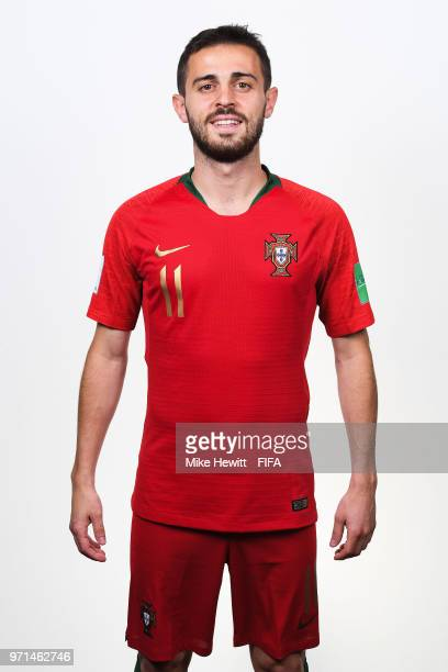 Bernado Silva of Portugal poses for a portrait during the official FIFA World Cup 2018 portrait session at on June 10 2018 in Moscow Russia