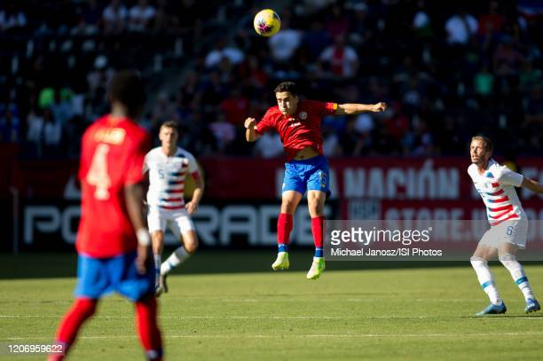 Bernald Alfaro of Costa Rica with a head ball during a game between Costa Rica and USMNT at Dignity Health Sports Park on February 1 2020 in Carson...