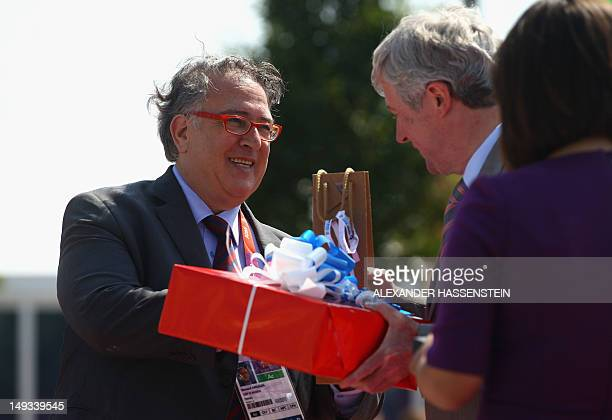 Bernard Amsalem , Chef de Mission of France is welcomed at the Olympic village ahead of the London 2012 Olympic Games at the Olympic Park on July 26,...