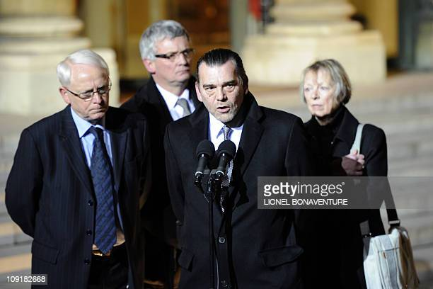 Bernard and Charlotte Cassez the parents of Florence Cassez sentenced to 60 years in prison for kidnapping stand next to their lawyer Frank Berton...