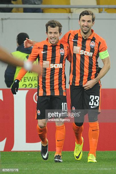Bernard and Dario Srna of Shakhtar Donetsk celebrate their goal during the UEFA Europa League Group H football match between Shakhtar Donetsk and...