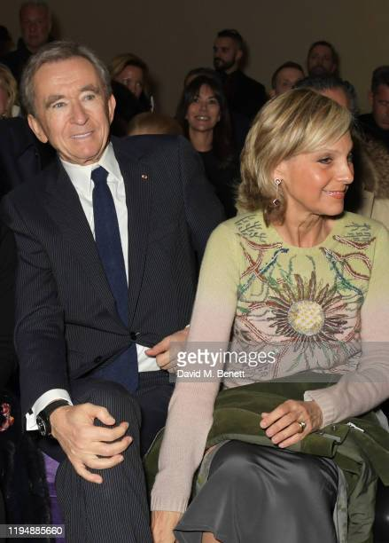Bernard Arnault and Helene Arnault attend the Dior Haute Couture Spring/Summer 2020 show as part of Paris Fashion Week at Musee Rodin on January 20...