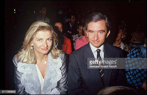 Bernard Arnault and his wife during a fashion show Haute Couture fall winter 1991 1992 collections in Paris