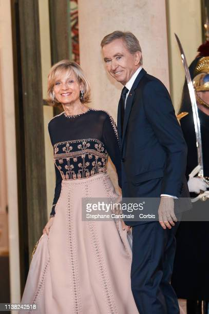 Bernard Arnault and his wife Helene Arnault arrive for a state dinner at the Elysee Presidential Palace on March 25, 2019 in Paris, France. Xi...