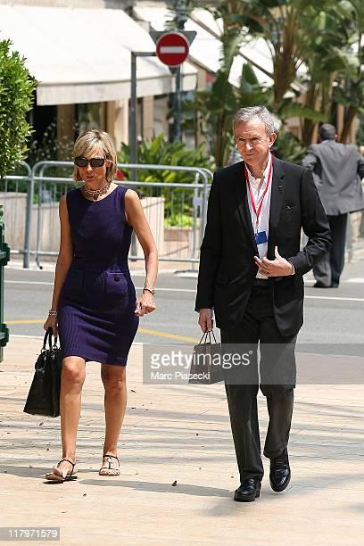 Bernard Arnault and his wife Helene Mercier-Arnault are sighted around the 'Hermitage' hotel before the Royal Wedding of Prince Albert II of Monaco...