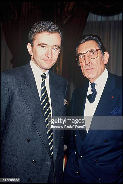 Bernard Arnault and Philippe Mouclier CEO of the Union chamber People at the ready to wear fashion show Sping Summer 1989 collection in Paris