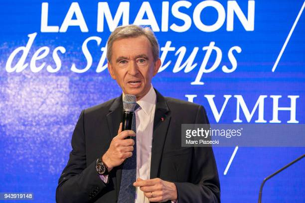 Bernard Arnault attends the 'LVMH StartUp Accelerator' opening ceremony at 'Station F' on April 9 2018 in Paris France