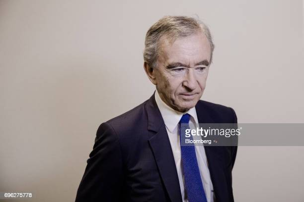 Bernard Arnault billionaire and chief executive officer of LVMH Moet Hennessy Louis Vuitton SE pauses during a Bloomberg Television interview at the...