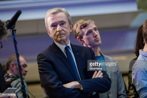 Bernard Arnault billionaire and chief executive officer of LVMH Moet Hennessy Louis Vuitton SE looks on during the inauguration of the LVMH startup...