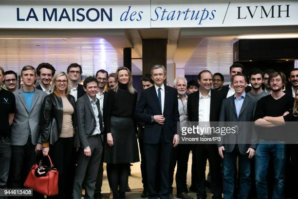 Bernard Arnault CEO of the LVMH group attends the inauguration of the startup house at station F on April 9 2018 in Paris France The luxury group...