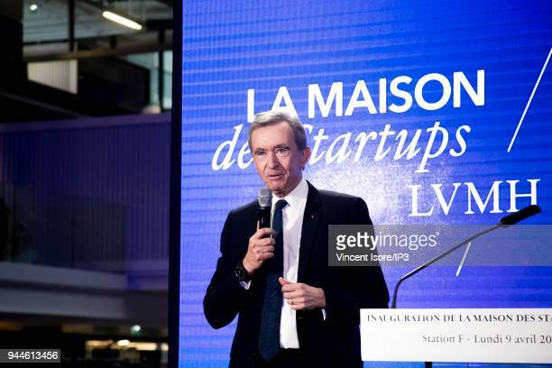 Bernard Arnault, CEO of the LVMH group, attends the inauguration of the startup house at station F on April 9, 2018 in Paris, France. The luxury...