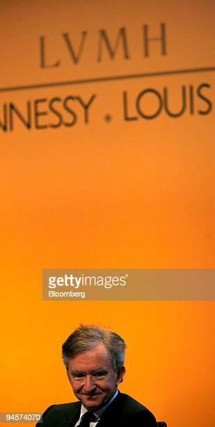Bernard Arnault chairman of LVMH Moet Hennessy Louis Vuitton pauses during the press conference in Paris France on Thursday July 26 2007 LVMH the...