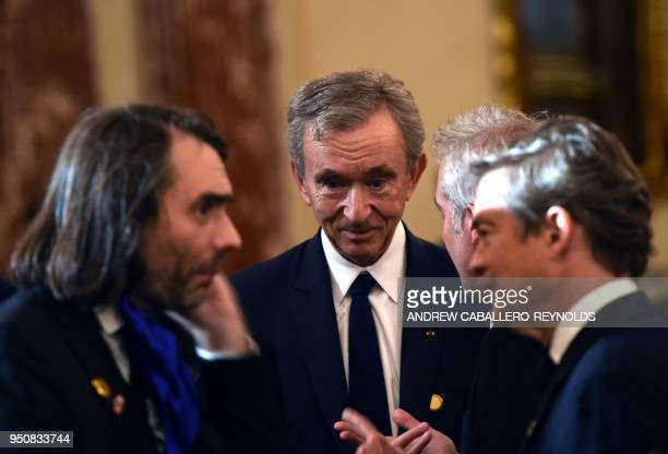 Bernard Arnault Chief Executive Officer of LVMH looks on before luncheon with French President Emmanuel Macron and US Vice President Mike Pence at...