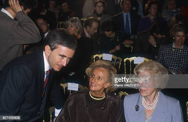Bernard Arnault Madame Bernadette Chirac and Madame Claude Pompidou attend the Christian Dior springsummer 1990 fashion show in Paris Italian...