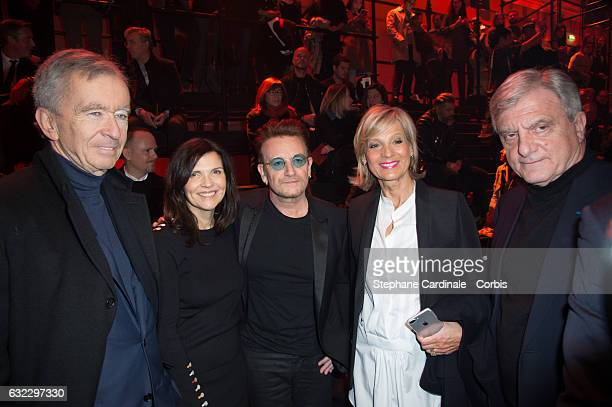 Bernard Arnault Singer Bono and his wife Ali Hewson Helene MercierArnault and Sidney Toledano attend the Dior Homme Menswear Fall/Winter 20172018...