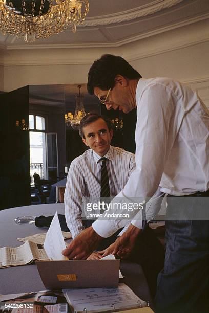 CEO Bernard Arnault with the company administrator Pierre Gode in the headoffices of Dior