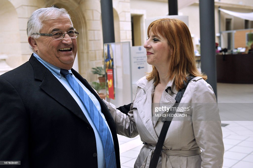 Bernard Barral (L) and Catherine Joffroy, two candidates for the primary vote of the French Socialist Party for the next June local parliamentary election in the third constituency of Lot-et-Garonn...