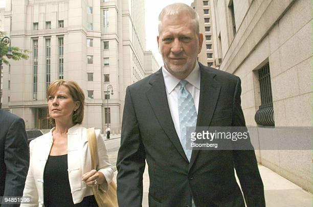 Bernard 'Bernie' Ebbers former CEO of WorldCom arrives for his sentencing with his wife Kristie in New York Wednesday July 13 2005 Ebbers the...