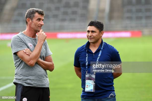 Bernard Blaquart Coach of Nimes and Oswald Tanchot Coach of Le Havre during the Ligue 2 match between Nimes and Le Havre AC at Stade des Costieres on...