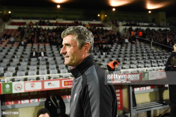 Bernard Blaquart Coach of Nimes during the Ligue 2 match between Nimes Olympique and Stade Brestois at on October 20 2017 in Nimes France