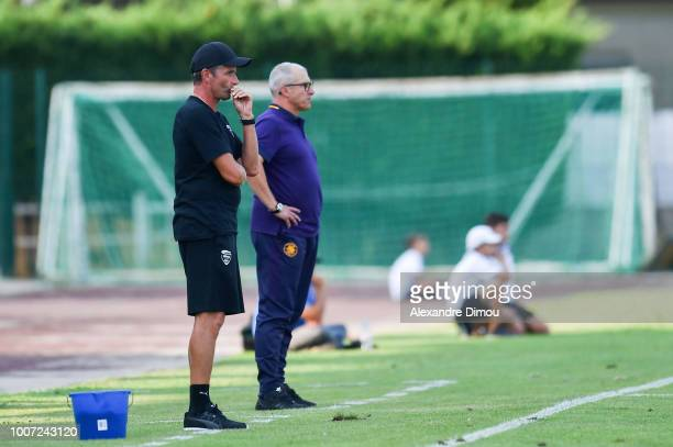 Bernard Blaquart head coach of Nimes and Alain Casanova new head coach of Toulouse during the friendly match between Nimes and Toulouse at Stade des...